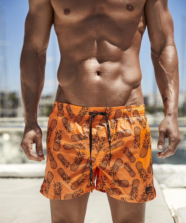 'PINE APPLES' PRINTED MEN'S SWIMWEAR SHORTS IN SHORT LENGTH