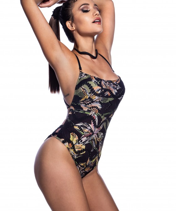 'BLACK FLOWER' ONEPIECE SWIMSUIT IN CROSSED BACK