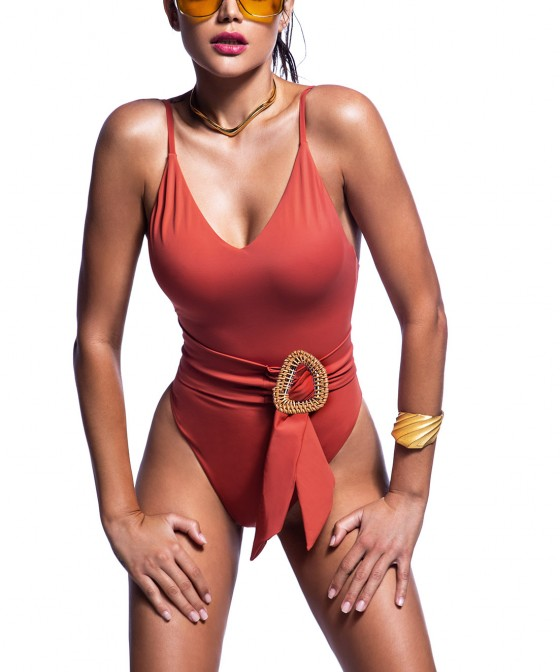 'BAMBOO' ONEPIECE SWIMSUIT WITH BELT AT WAIST
