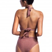 'SHIMMERING' BRAZILIAN HIGH WAIST BIKINI BOTTOM IN GLITTER DETAILS