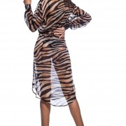 'TIGER-LEO' TRANSPARENT DRESS WITH BUTTONS