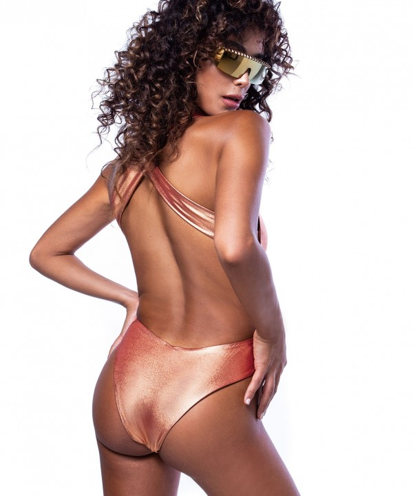 'COPPER' ONEPIECE SWIMSUIT IN METALLIC STYLE