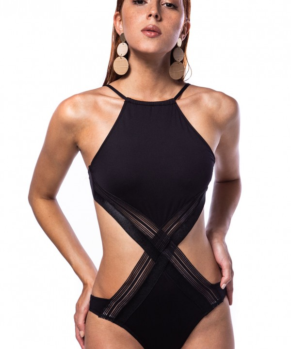 'BACK TO BLACK' ONEPIECE SWIMSUIT IN SIDE CUTOUTS