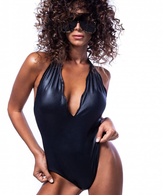 'LEATHER TOUCH' BRAZILIAN ONEPIECE SWIMSUIT IN LEATHER LOOK