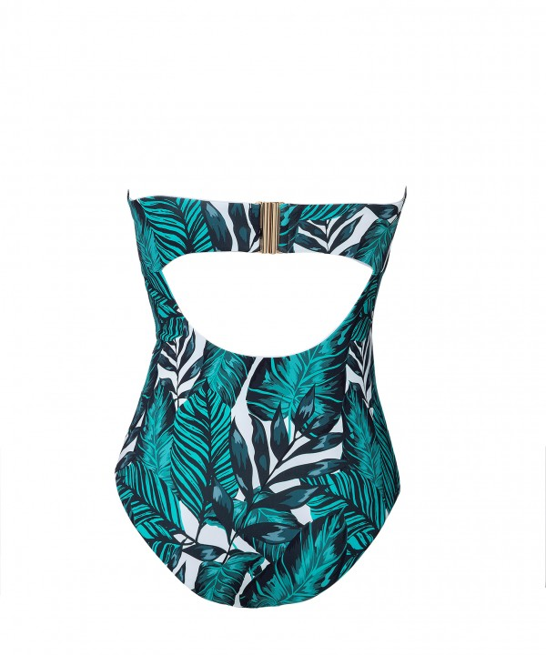 'FUTURE TROPICS' STRAPLESS ONEPIECE SWIMSUIT IN CUP D