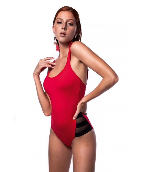 'SOLIDS' ONEPIECE SWIMSUIT IN TRANSPARENT DETAILS