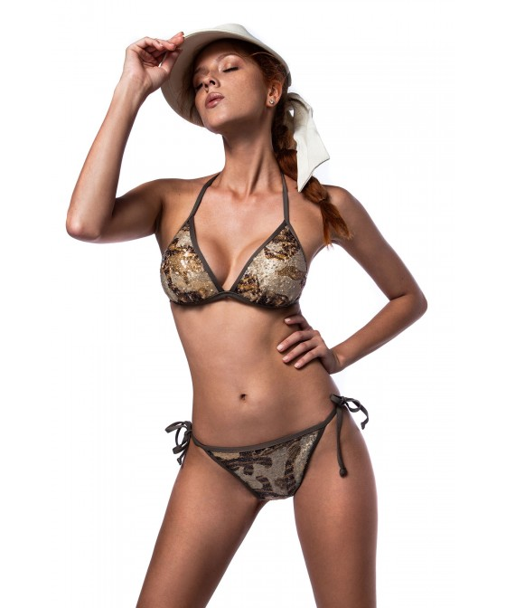 'ARMY OF LOVERS' TRIANGLE BIKINI TOP IN SEQUINS