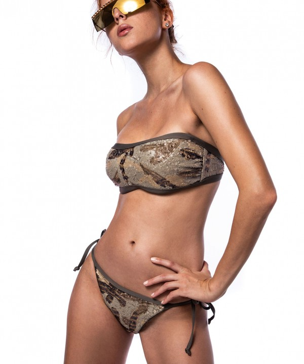 'ARMY OF LOVERS' STRAPLESS BIKINI TOP IN SEQUINS