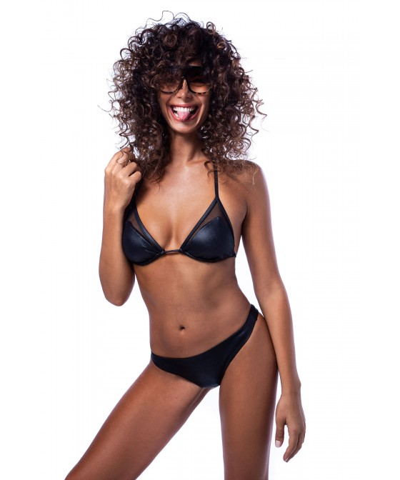 'LEATHER TOUCH' TRIANGLE BIKINI TOP IN TRANSPARENCY