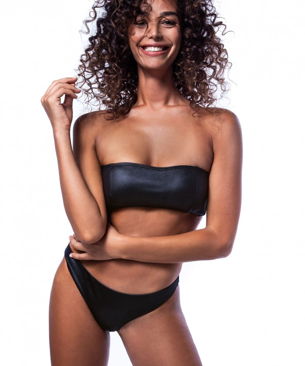 'LEATHER TOUCH' STRAPLESS BIKINI TOP
