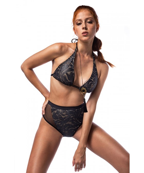 'BLACK LACE' BIKINI TOP IN LACE UP DETAILS IN CUP D